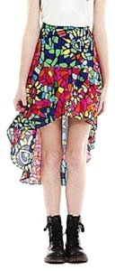 Nanette Lepore High-low Ruffle Skirt Multi Neon Print