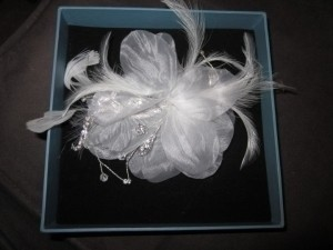 Alfred Angelo White/ Silver Silk Flower Feather Fascinator Hair Accessory