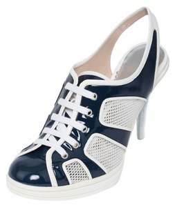 Giorgio Armani Fashion Sneakers Heels Navy and White Pumps