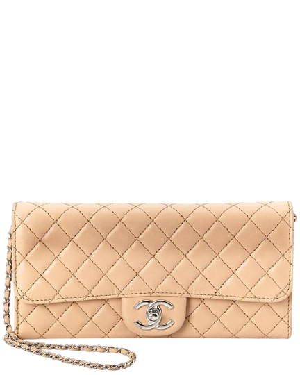 Preload https://img-static.tradesy.com/item/9586219/chanel-east-west-quilted-wallet-on-a-chain-beige-nude-lambskin-clutch-0-1-540-540.jpg