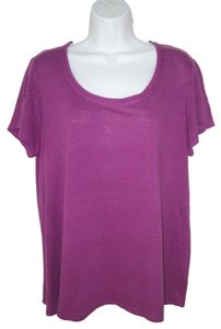 Eileen Fisher Knit Linen Purple T Shirt