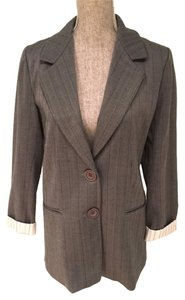 Brown Herringbone Jacket with Striped Lining (Size 8)