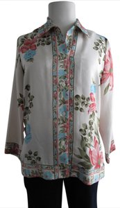 Plenty by Tracy Reese Silk Printed Floral Top Multicolored