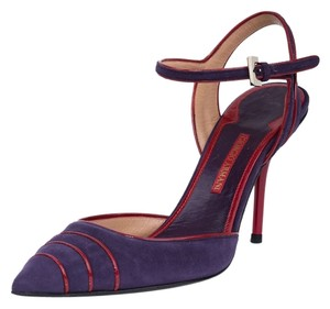 Giorgio Armani Stilletos Italy Pointed Toe Red Heel Elegant Purple Pumps