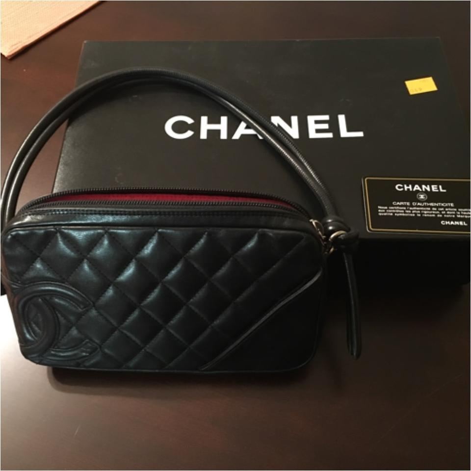 cf7a5ae129b489 Chanel Cambon Ligne Quilted Pochette Black Leather Shoulder Bag ...