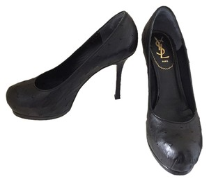 Saint Laurent Ysl Yves Tribtoo 80 Ysl Ostrich Ostrich Black Pumps