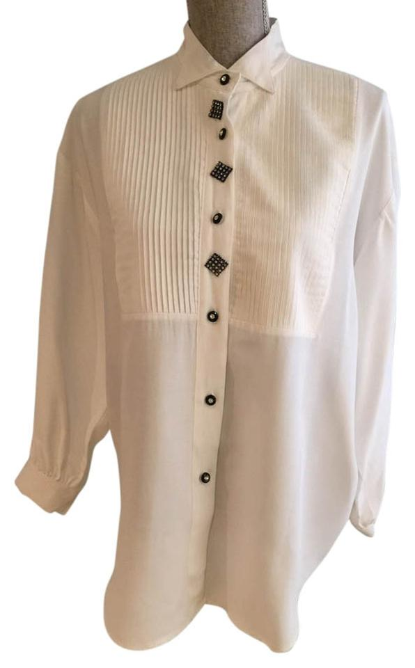 White Tuxedo-style with Crystal Buttons Large) Button-down Top Size 12 (L)  69% off retail