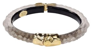 Alexis Bittar Alexis Bittar Brown Textured Lucite And Gold Hinged Bracelet New