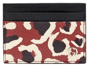 Gucci Gucci Leopard Red Leather Business Card Case Holder