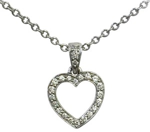 Tiffany & Co. TIFFANY & CO Platinum Open Heart Shaped Diamond Pendant Necklace Pt950