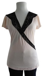 Ella Moss Pink Lace Comfortable Soft Top Blush and Black