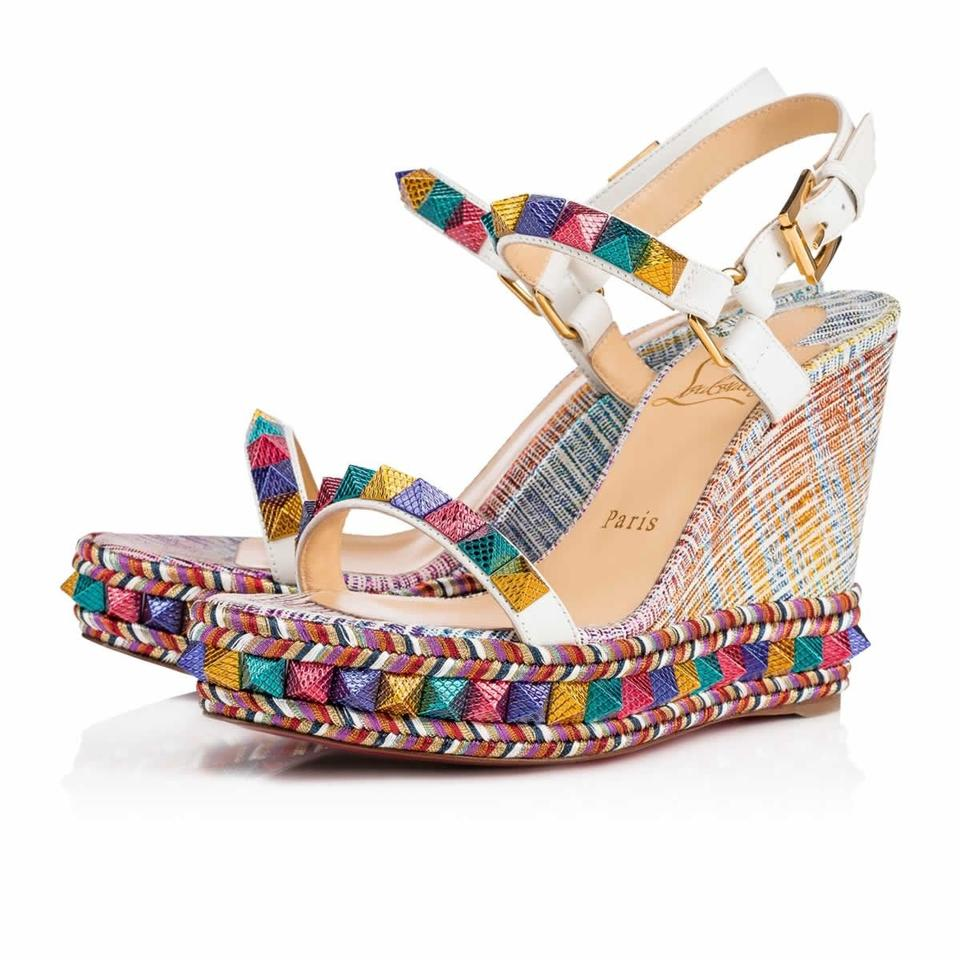 4d1eef766d35 Christian Louboutin Multicolor Limited Edition Pyraclou 110mm Rainbow  Studded Platform Wedges