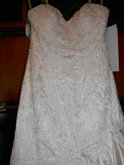 Mon Cheri Ivory Pearl Satin and Lace 212249 Modern Wedding Dress Size 4 (S)