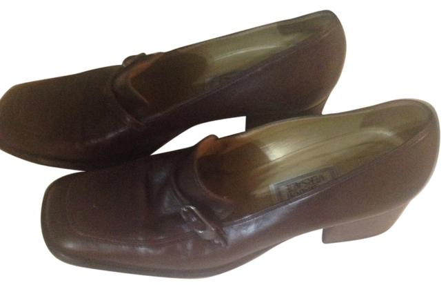 Versace Dark Brown Gianni Leather Made In Italy Mules/Slides Size US 7.5 Versace Dark Brown Gianni Leather Made In Italy Mules/Slides Size US 7.5 Image 1