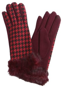 Burgundy Fur Trim Wool Gloves
