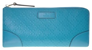 Gucci Gucci Women's Turquoise Zip Around Clutch Diamante Leather Wallet