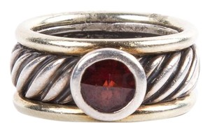 David Yurman Silver Cable Red Garnet Stone Ring