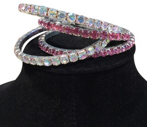 Quality Aurora and Pink Crystal Bracelets (Set of 4)