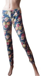 U-51 1970s 70s Chunky Floral Skinny Pants blue and various