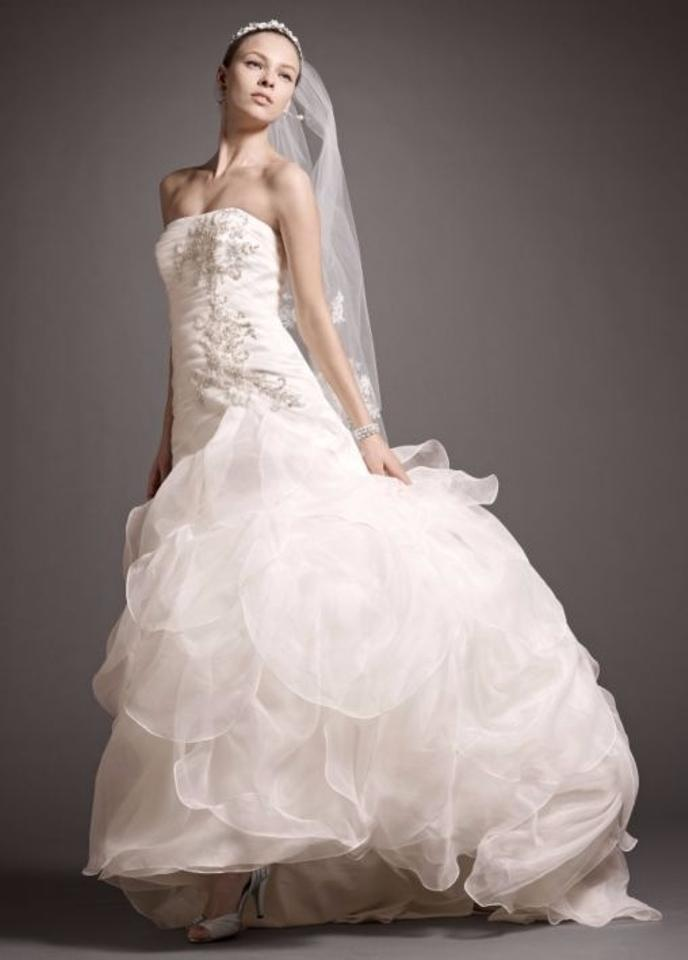 David\'s Bridal Ivory New Organza Fit-and-flare Gown with Drop Waist ...