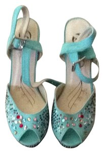 Bata Blue Wedges