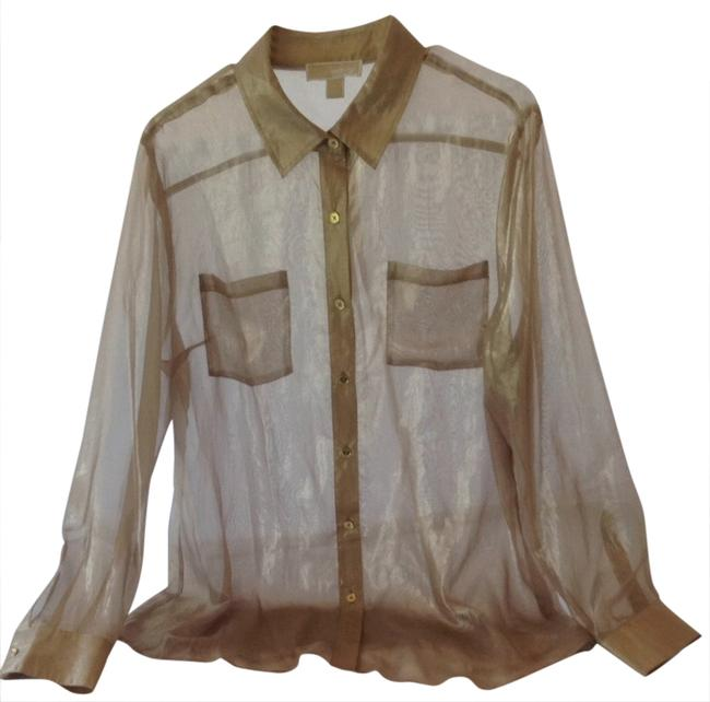 Item - Gold New Sheer Pockets Longsleeve Summer Event Evening Dressy Fun Button-down Top Size 16 (XL, Plus 0x)