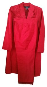Willi Smith WILLI SMITH RED 100% SILK AND SEQUIN TRIM PANT SUIT