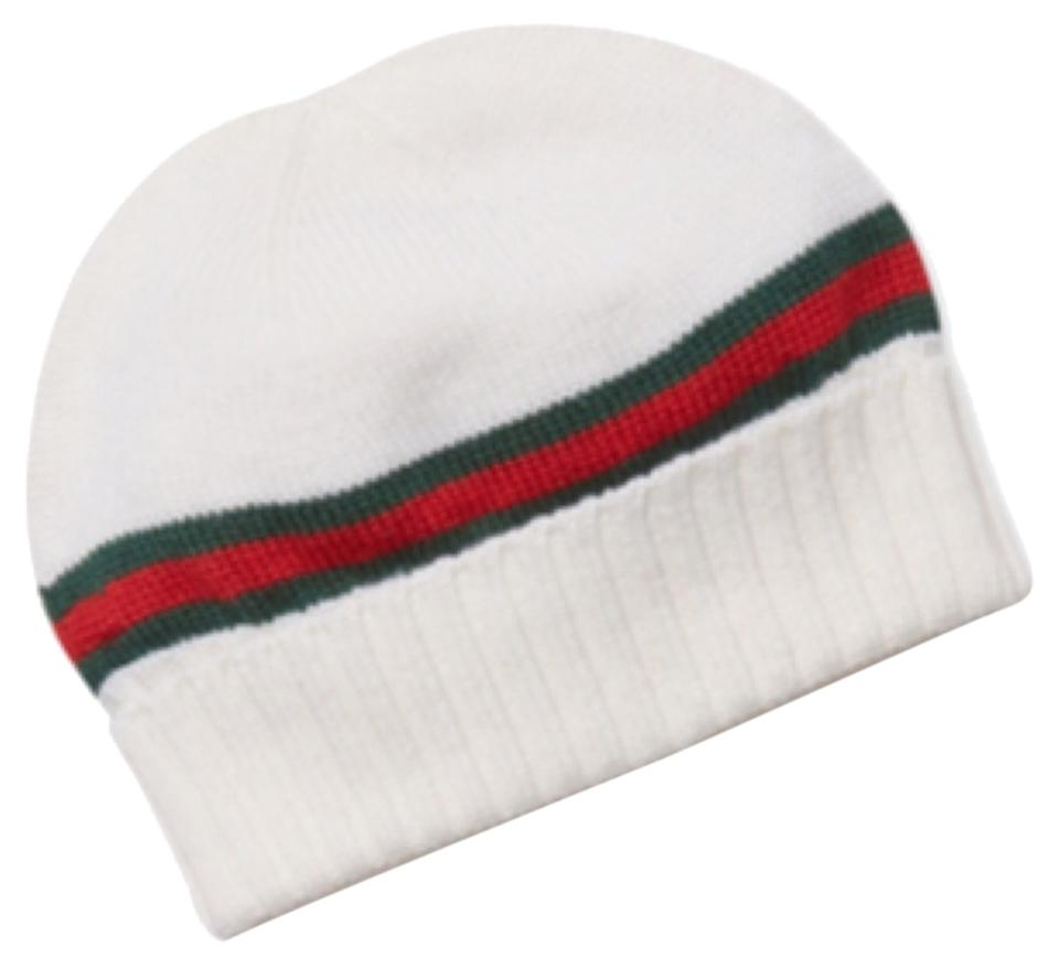 d74f10356f406 Gucci Gucci Wool Knit Skull Hat Cap White With Green   Red Stripes Size   Small ...