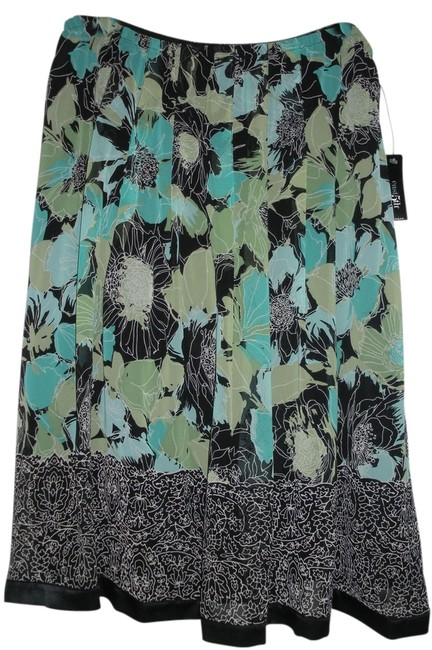 Item - Black Teal Green White Abstract Floral 1x Skirt Size 20 (Plus 1x)