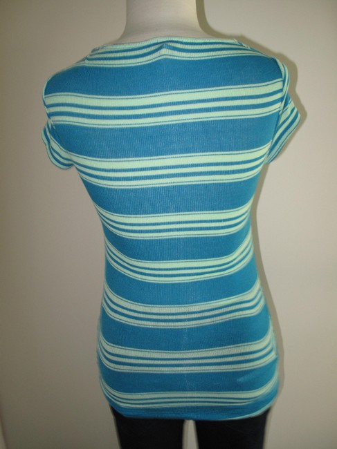Ella Moss Soft Stretch Striped V-neck Top Aqua