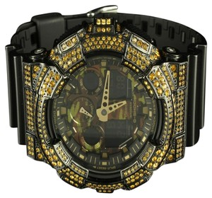 G-Shock GShock GA100CF Watch Canary CZ On Black Camouflage Screen Digital & Analog Black