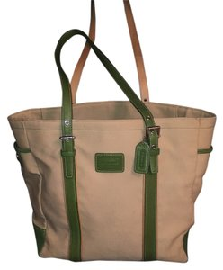 Coach Tote in Tan And Green