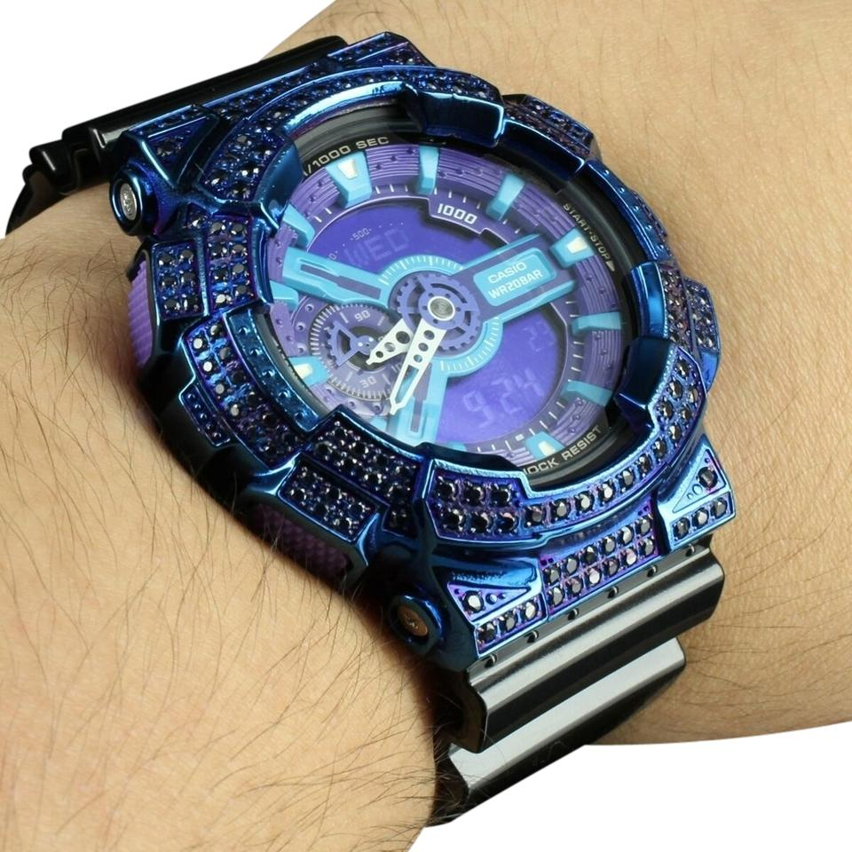 c6d60d4a85ea G-Shock Neon Blue Ga110hc Black Digital Analog Water Resistant Rubber Band  Watch