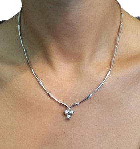 White Gold Diamonds Necklace with 3 Stones Centerpieced, 16in