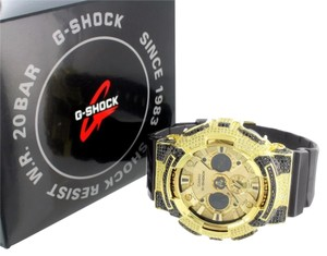 G-Shock G Shock GA200GD Watch Mens Canary Black Lab Diamonds Custom Analog Digital Sale