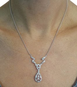Other White Gold Diamonds Necklace with Beaded Chain, 16in
