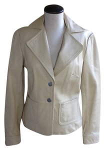 Mossimo Supply Co. Leather Leather Cream Leather Jacket