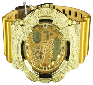 G-Shock Mens G-Shock Watch Gold Finish Digital Analog Iced Out Canary Simulated Diamonds