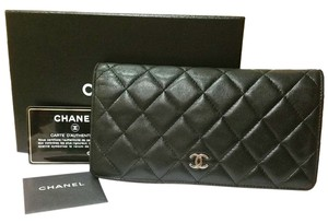 Chanel Authentic Chanel Classic 2.55 Flap Black Long Wallet Complete set