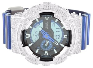 G-Shock Blue G-Shock GA110HT-2A Watch Simulated Diamond Bezel Digital Analog Men Custom