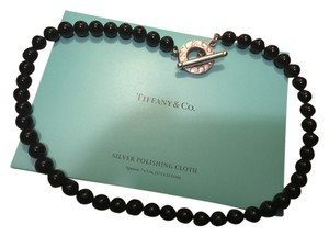 Tiffany & Co. Tiffany Co. 15mm Onyx Beaded Necklace Sterling Silver Toggle Clasp