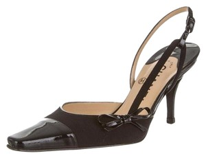 Chanel Slingback Cap Toe Leather Slingback Bow Black Pumps