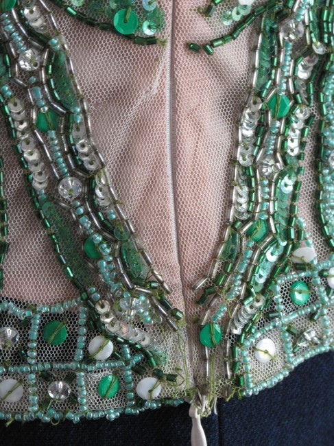 Tracy Reese Art Deco Vintage Like Beaded Top Green