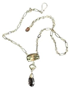 Lori Bonn Lori Bonn SS necklace with Light green/clear genuine stones