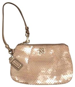Coach Sequin Wristlet in Silver
