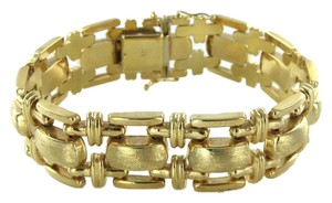GOLD 14KT SOLID YELLOW GOLD MADE IN ITALY FINE SATIN BRACELET LINK 32.6 GRAMS 7 INCH