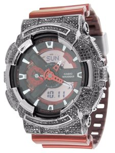 G-Shock G Shock Red Metallic GA110NM-4A Watch Black Lab Diamond Bezel Analog Digital New