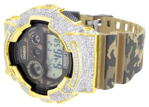 G-Shock Mens G-Shock Camouflage Watch GD120CM-5 Army Band Gold Tone Lab Diamond Bezel