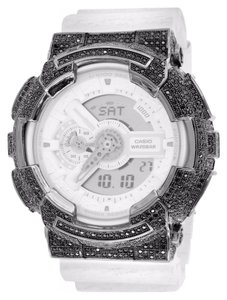 G-Shock G-Shock Watches GA110HT-7A Men Black Lab Diamond Bezel White Band Digital-Analog