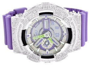 G-Shock G Shock Watches GA110DN-6A Purple Resin Band Custom Lab Diamond Bezel Analog-Dig